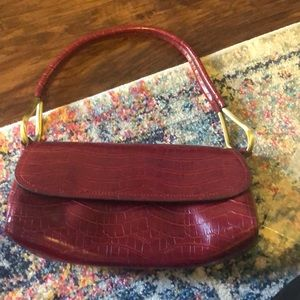 Bueno red crocodile handbag